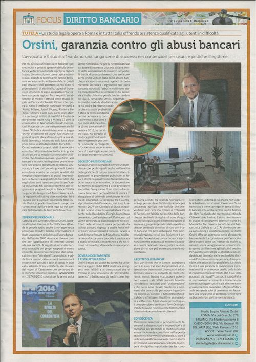 LA REPUBBLICA 27.01.2017 - Orsini alessio Avvocato usura bancaria